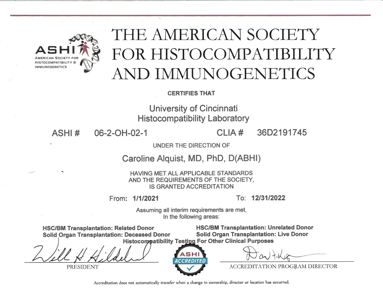 Accreditation from ASHI (American Society for Histocompatibility and Immunogenetics) for Hoxworth Blood Center