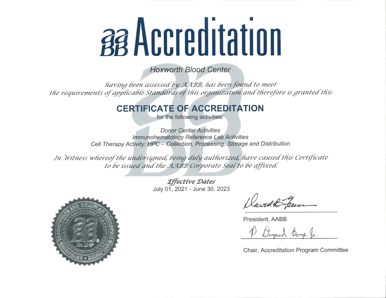 AABB Accreditation for Hoxworth Blood Center