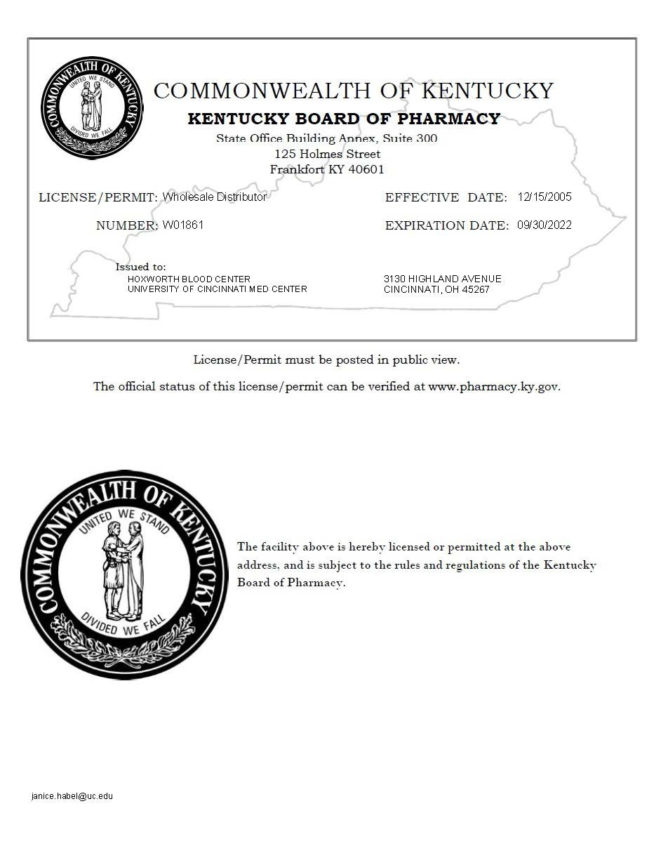 License from State of Kentucky Pharmacy for Hoxworth Blood Center